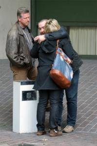 Die drei Polizeibeamten, die Beate Zschäpe und Ralf Wohlleben verhört hatten. Bei Gericht sagten sie auch das sie sich lang nicht mehr gesehen hatten. ( Foto : J.POhl)