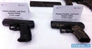 Die Polizeiwaffen die im Wohnmobil gefunden wurden.